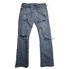 Men's True Religion Jeans Size 30 Relaxed Straight Ripped Ricky with Flap