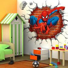 Spiderman 3D Cracked Children Themed Art Boys Room Wall Sticker Home Decal Decor