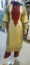 Bollywood Kleid Gr M Shalwar Kameez Sari Anarkali Abaya Beige Braun Rot