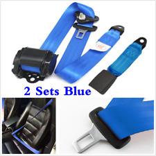 2 Set Blue Car Truck Auto Adjustable Retractable 3 Point Safety Seat Belt Straps