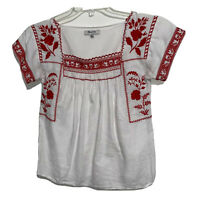 Madewell Women's Size XXS Short Sleeve Flower Embroidered Top White/Red