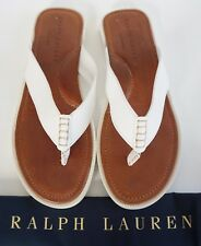 $295 RALPH LAUREN *DARNFORD* White Leather Thong Sandals Slides Shoes US-11.5D