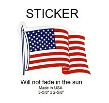 "Usa United States Wavy Flag Vinyl Sticker -Will not fade, 3-5/8"" x 2-5/8"""