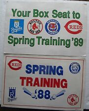 2 Newspaper Vending Machine Signs BASEBALL SPRING TRAINING 1988 1989 Red Sox etc