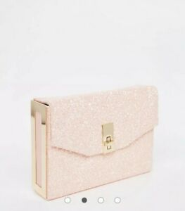 New Look Pink Holographic Glitter Box Bag Evening Party Glam Lock Twist