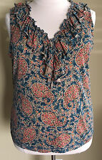 LRL Ralph Lauren Jeans Co Sleeveless Knit Top Ruffled Front, Paisley Sz 2X EUC