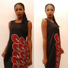 Stunning Black Dress with Traditional African Details - size UK 12       (#A36)