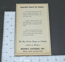 1967 Boone's Antiques Source For Dealers Wilson NC Buy Estates Vintage Print Ad