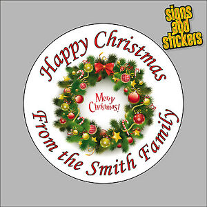 40 Personalised Christmas Stickers gift tags xmas parcels presents santa wreath