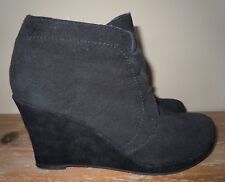 L@@K! WOMENS DV DOLCE VITA BLACK LEATHER SUEDE WEDGE HEEL BOOTIES SHOES 6 B $128