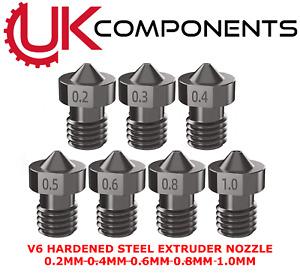 V6 Hardened Steel 3D Printer Extruder Nozzle 0.2 to 1mm 8  - 1.75 filament - M6