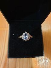 9ct 375 Gold Ladies Cluster Ring CZ Size Q Not Scrap Cubic Zirconia Aqua Marine