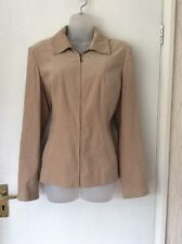 dunnes stores beige Soft Touch zip front ladies jacket size 14