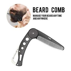 Beard Comb Portable Shaving Pocket Stainless Steel Barber Men Mustache Brush