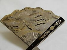 1930's Art Deco Compact Fan With Japanese Landscape Engraved Sterling Silver