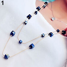 Women Square Rhinestones Beads 2 Layers Alloy Chain Long Sweater Necklace Hot Sa