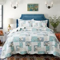 Country Chic Printed Full Patchwork Pattern Printed Quilt Bedding Coverlet Set