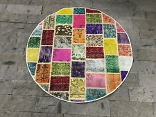 FREE SHIPPING! Round Runner Rug 3.3x3.3ft Patchwork Round Rug Overdyed Patchwork