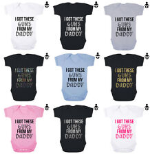 I GOT THESE GUNS FROM MY DADDY, Funny, Gym cute dad Baby grow BABY VEST Bodysuit