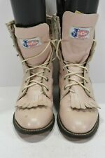 JUSTIN L520  WOMENS 5 C PINK LEATHER LACE UP LACERS KILTIE WESTERN COWBOY BOOTS