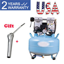 USA Dental Silent Noiseless Oilless Air Compressor 32L 550W 3/4HP Triple Syringe