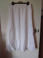 White 100% Linen Lined Next A Line Maxi Skirt in Size 10 R