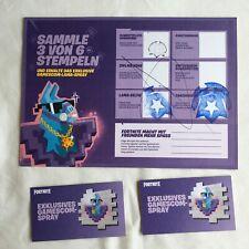 Fortnite battlepass & 2 exclusive Spray cartes inutilisable gamescom 2018 Promo stamp