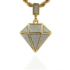 "Gold Plated Mini Diamond Stardust Shaped Hip-Hop Pendant 24"" Rope Chain Necklace"