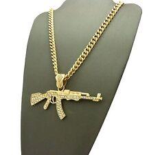 """NEW ICED 14K GOLD PLATED  MACHINE GUN AK 47 PENDANT w/ 6mm 24"""" Cuban Chain NN041"""