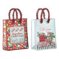 "Set/2 RAZ 5"" Shopping Bag Candy Christmas Tree Ornaments Vntg Style Decor"