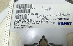 100 C0603C104K8RAC Kemet ceramic MLCC SMD 0603 100nF 10V X7R ±10% 0.1uf 0u1 100n