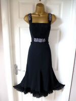 LADIES M&S PER UNA STUNNING FLOATY BLACK DRESS SIZE 14 CHRISTMAS/PARTY/EVENING