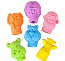 144 Zoo Neon Animal Face Pencil Top Eraser Party Favors School Reward Bulk