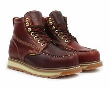 "Bonanza BA-612 Mens Burgundy 6"" Lace Up Mocc Toe Work Boots"