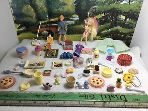 40-50 Vintage dolls house accessories & 2 Dolls. Food, Utensils, Pictures Etc