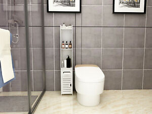 Bathroom Toilet Waterproof White Utility Storage Side Cabinet with 2 Shelves