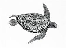 The Zentangle Turtle - Large Cotton Tea Towel