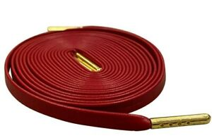RED Leather Shoe Laces Luxury Shoelaces for Sneakers W/ Gold Tips LACE ENVY