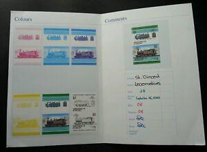St. Vincent Locomotive 1985 (Printing Color Proof Imperf Stamp Folio) *Rare