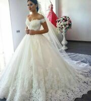 Princess Off Shoulder Wedding Dresses Applique Lace Puffy Ball Bridal Gown Train
