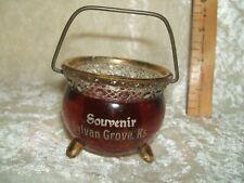 "ANTIQUE RUBY TO CLEAR GLASS SMALL POT  ""SOUVENIR SYLVAN GROVE, Ks"" GOLD TRIM"