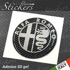 1 Adesivo Stickers ALFA ROMEO Carbon & White 30 mm 3D resinato auto