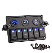 6 Gang LED Rocker Switch Control Panel Circuit Charger 12V 24V-Boat RV Marine