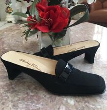 Salvatore Ferragamo Black Canvas Heel Slip On Shoes Size 8AA  EUC, Made in Italy