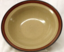 "INTERNATIONAL ROUND UP BROWN CEREAL BOWL 6 3/4"" BEIGE WITH BROWN BAND BLACK TRIM"