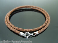"""3mm Saddle Brown Braided Leather & Sterling Silver Necklace 16"""" 18"""" 20"""" 22"""" 24"""""""