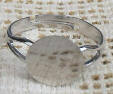 5 Delicate Silvertone RING Base Blanks Findings Settings Cabachon Steampunk