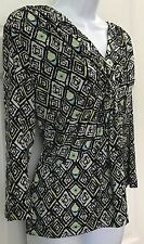 Laura Ashley Petite Multi-Color Blouse SZ PL Stretchy Slinky Geo Print V Neck
