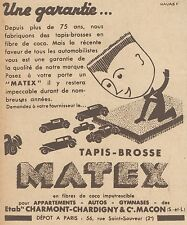 Z9228 Tapis-Brosse MATEX -  Pubblicità d'epoca - 1932 Old advertising