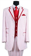 Men's Elegant Luxurious Wool Feel Pinstripes Suit with Solid Vest, Red Stripes
